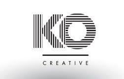 Líneas blancos y negros letra Logo Design del knock-out K O stock de ilustración