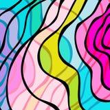 Líneas brillantemente coloreadas pintada en un ejemplo negro del fondo libre illustration
