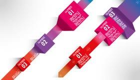 Líneas coloreadas ejemplos papel de las flechas de las bandas de Infographic Imágenes de archivo libres de regalías