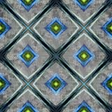 Líneas coloreadas y polígonos en un fondo gris Ejemplo geométrico inconsútil del fondo Efecto del Grunge ilustración del vector