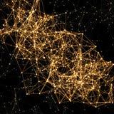 Líneas conectadas puntos de oro brillantes en negro abstraiga el fondo Foto de archivo