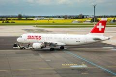 Líneas de aire internacionales suizas Foto de archivo