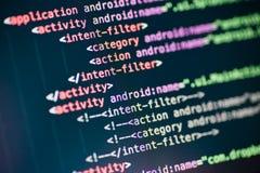 Líneas de código de XML en una exhibición imagen de archivo libre de regalías