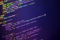 Líneas de código en la pantalla imágenes de archivo libres de regalías