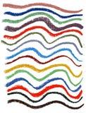 Líneas de color onduladas con los creyones en colores pastel suaves Fotografía de archivo libre de regalías