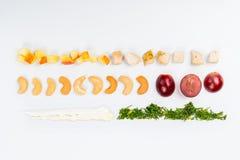 Líneas de diversa comida Fotografía de archivo libre de regalías
