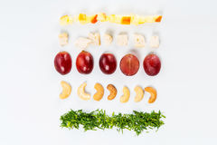 Líneas de diversa comida Imagen de archivo