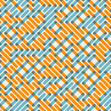 Líneas de intersección anaranjadas azules inconsútiles rejilla Maze Pattern del vector Imagen de archivo libre de regalías