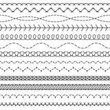 Líneas de la puntada El modelo inconsútil cosido que rosca las fronteras que cosen los bordes del zigzag del hilo de la tela de l libre illustration
