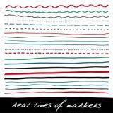 Líneas de mano - marcadores reales Fotografía de archivo libre de regalías
