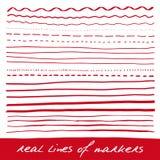 Líneas de mano - marcadores reales Imagen de archivo libre de regalías