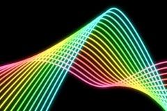 Líneas de neón multicoloras que brillan intensamente en un backgrund negro libre illustration