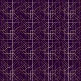 Líneas de oro fondo del modelo geométrico del art déco de la púrpura Foto de archivo