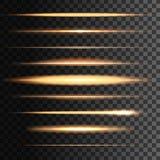 Líneas de oro ligeras de los flashes, falta de definición que brilla intensamente del vector