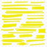 Líneas de pintura amarillas del cepillo del vector del marcador del punto culminante ilustración del vector
