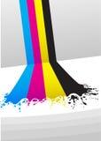 Líneas de pintura de CMYK Imagenes de archivo