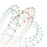 Líneas de puntos del color abstracto conectadas con los gráficos imagen de archivo