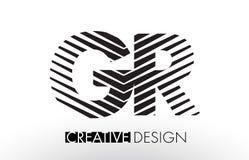 Líneas de R de GR G diseño de letra con la cebra elegante creativa Imagenes de archivo