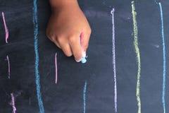 Líneas de tiza o cepillos de la escritura Foto de archivo