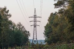Líneas de transmisión de Electric Power sobre árboles Torre de alto voltaje de la transmisión en las líneas del forestpower poten fotografía de archivo