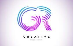 Líneas deformación Logo Design de GR Icono de la letra hecho con la circular púrpura Imagenes de archivo