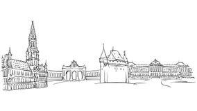 Líneas del dibujo del uno mismo de Bruselas Bélgica stock de ilustración