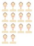 Líneas del masaje en cara de la mujer