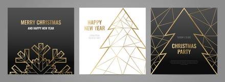 Líneas del oro de la plantilla de la invitación en un fondo negro libre illustration