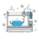 líneas ejemplo de la impresora 3D del vector del diseño El proceso de impresión en el diseño de Flat de la impresora 3D con el si ilustración del vector