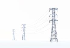 Líneas eléctricas de alto voltaje Imágenes de archivo libres de regalías