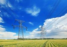 Líneas eléctricas de alto voltaje sobre campo de trigo foto de archivo