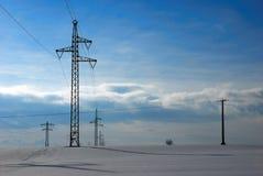 Líneas eléctricas de arriba Imagen de archivo libre de regalías