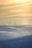 Líneas eléctricas de la nieve Imagen de archivo libre de regalías