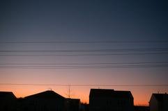 Líneas eléctricas de la tarde Fotografía de archivo libre de regalías
