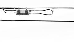 Líneas eléctricas en blanco imagen de archivo libre de regalías