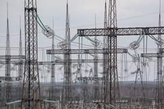 Líneas eléctricas en Chernóbil Imágenes de archivo libres de regalías