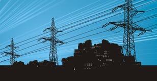 Líneas eléctricas en el cielo eléctrico Imagen de archivo libre de regalías