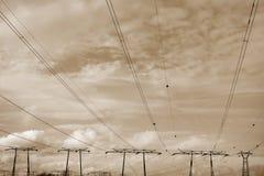 Líneas eléctricas tristes Fotos de archivo libres de regalías