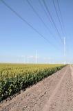 Líneas eléctricas y turbinas de viento imagen de archivo libre de regalías