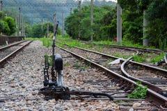 Líneas ferroviarias y puntos Imágenes de archivo libres de regalías