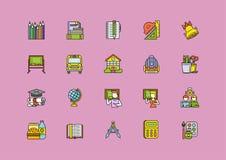 Líneas finas iconos de la escuela colorida del movimiento del esquema Imagen de archivo libre de regalías