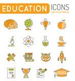 Líneas finas sistema de la educación en línea del icono del web del color Fotografía de archivo libre de regalías