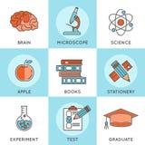 Líneas finas sistema de la educación en línea del icono del web del color Foto de archivo libre de regalías