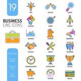 Líneas finas sistema de la estrategia empresarial del icono del web del color Fotos de archivo