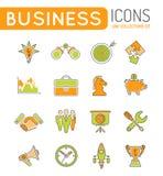 Líneas finas sistema de la estrategia empresarial del icono del web del color Imagen de archivo