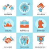 Líneas finas sistema de la estrategia empresarial del icono del web del color Imagenes de archivo