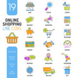 Líneas finas sistema de las compras en línea del icono del web del color Fotografía de archivo libre de regalías