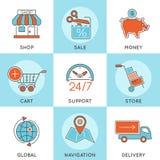 Líneas finas sistema de las compras en línea del icono del web del color Foto de archivo