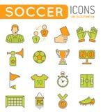 Líneas finas sistema del fútbol del icono del web del color Fotografía de archivo libre de regalías