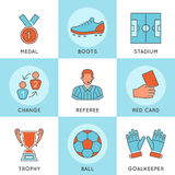 Líneas finas sistema del fútbol del icono del web del color Imágenes de archivo libres de regalías